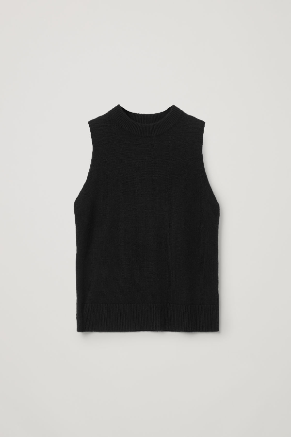 Cos Cashmere Plain Knit Vest In Black