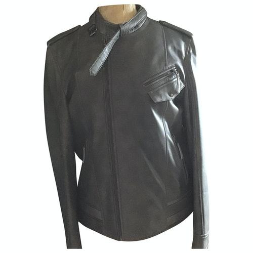 Azzaro Grey Leather Jacket