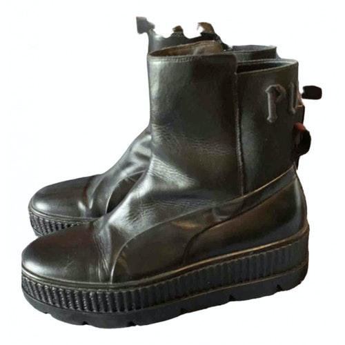 Fenty X Puma Black Leather Boots