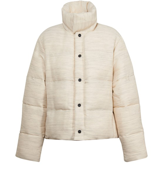 Jacquemus La Doudoune Oatmeal Quilted Woven Jacket In Beige