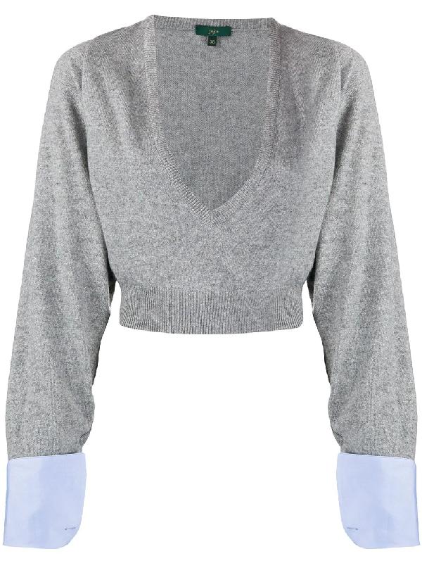 Jejia Cropped V-neck Jumper In Grey