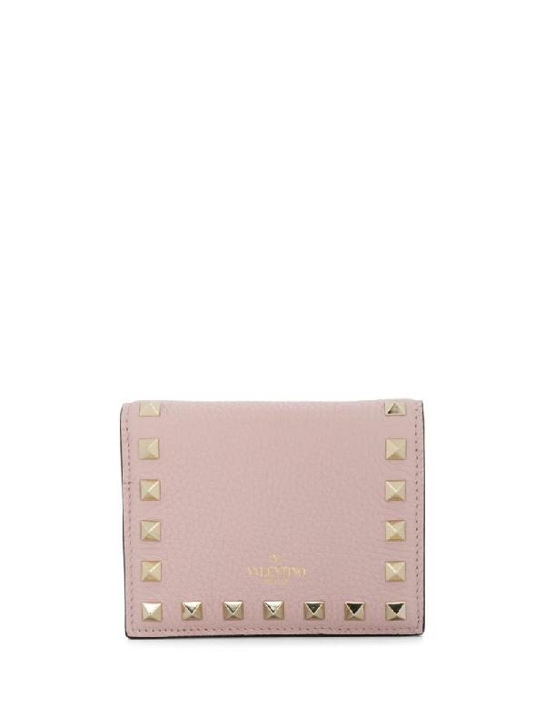 Valentino Garavani Rockstud Foldover Wallet In Pink