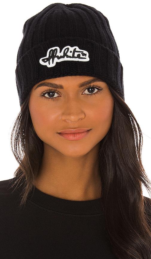Off-white Chunky Logo Beanie Hat Black Black