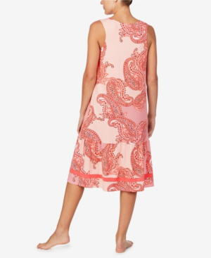 Ellen Tracy Women's Sleeveless Midi Gown With Soft Bra In Coral Paisley