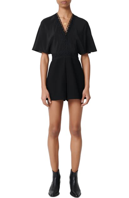 Maje Idelle Lace Trim Short Sleeve Silk Romper In Black