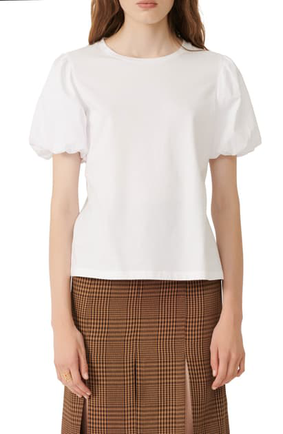 Maje Mixed Media Puff Sleeve T-shirt In White