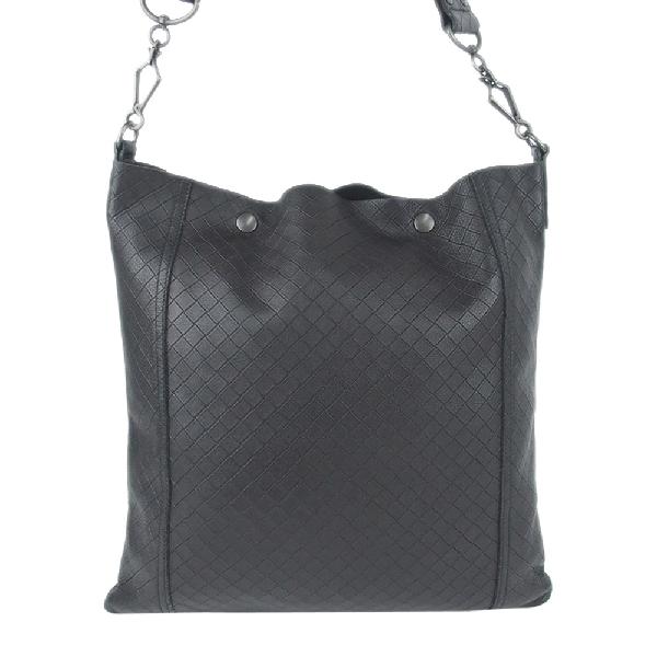 Bottega Veneta Black Intrecciomirage Leather Crossbody Bag