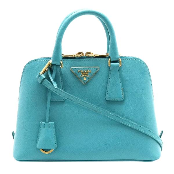 Prada Blue Saffiano Leather Lux Dome Satchel