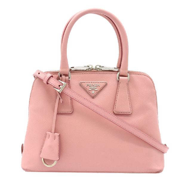 Prada Pink Saffiano Leather Mini Convertible Dome Satchel