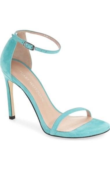 Stuart Weitzman 'nudistsong' Ankle Strap Sandal (women) In Blue Suede