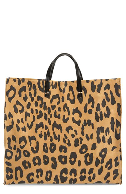 Clare V Simple Leopard Print Suede Tote In Tan Pablo Cat