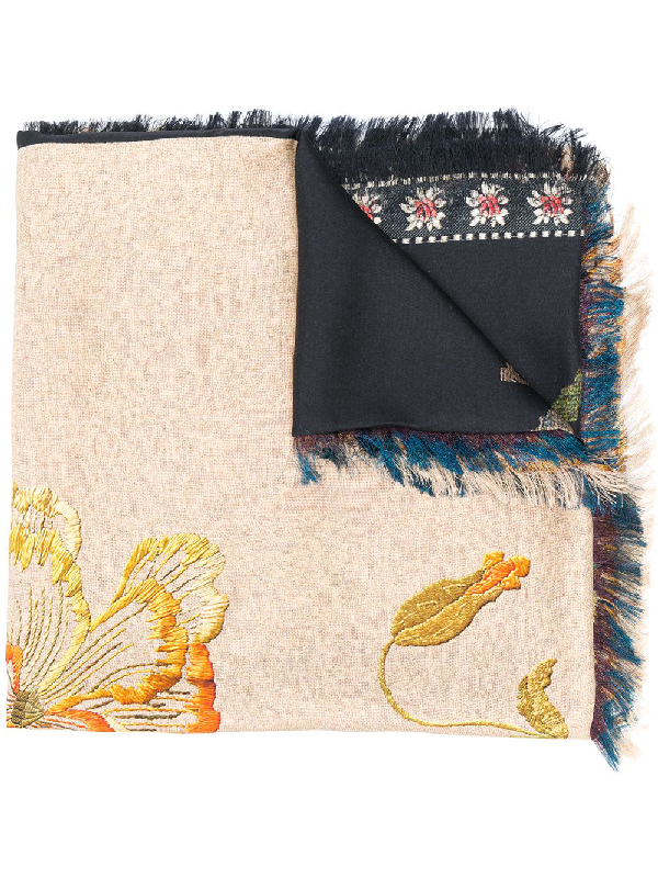 Pierre-louis Mascia All-over Floral Embroidered Scarf In Neutrals