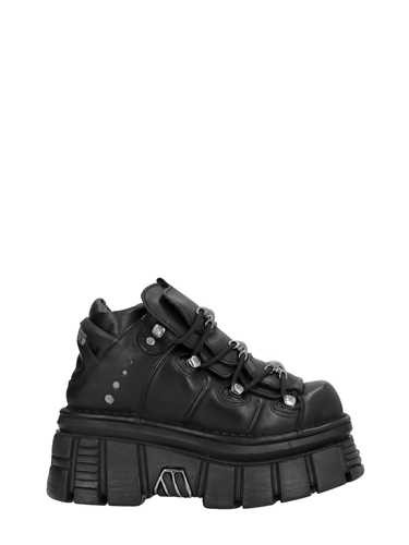 New Rock Black Leather Platform Sneakers