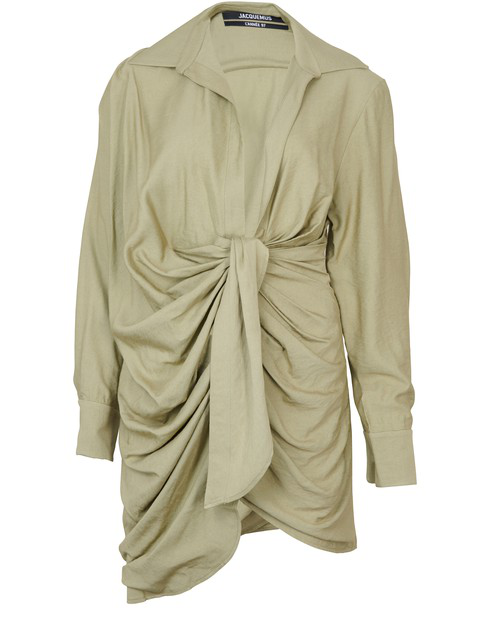 Jacquemus La Robe Bahia Knotted Shirt Dress In Green