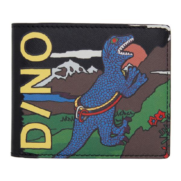 Ps By Paul Smith Black Dino Billfold Wallet In Multi Pr