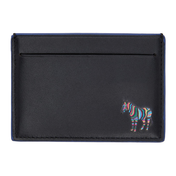 Ps By Paul Smith Black And Blue Zebra Card Holder In Black 78