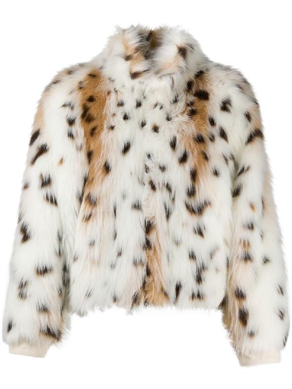 Jejia Animal Print Faux-fur Jacket In White