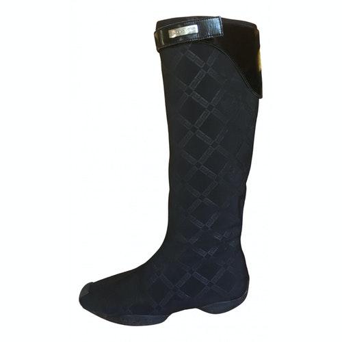 Versace Black Cloth Boots