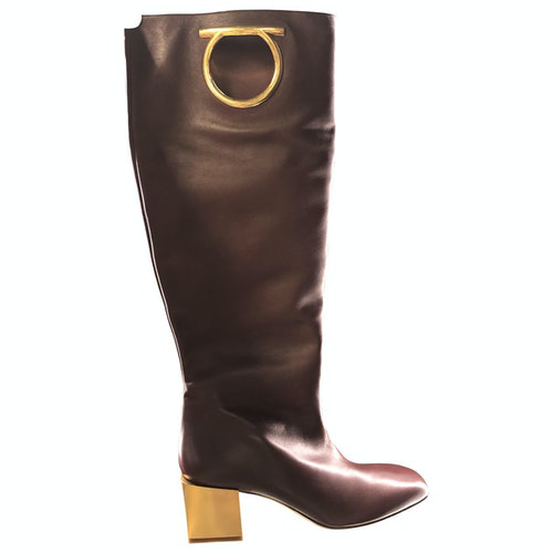 Salvatore Ferragamo Burgundy Leather Boots