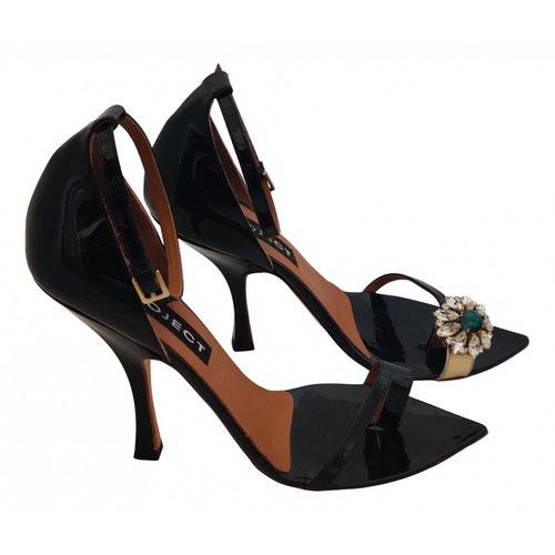 Y/project Black Patent Leather Sandals