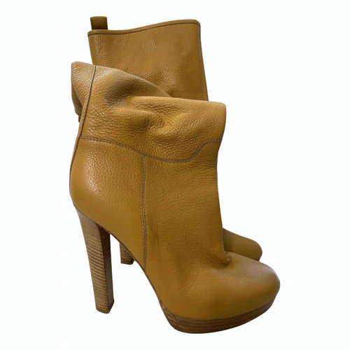 Dsquared2 Yellow Leather Ankle Boots