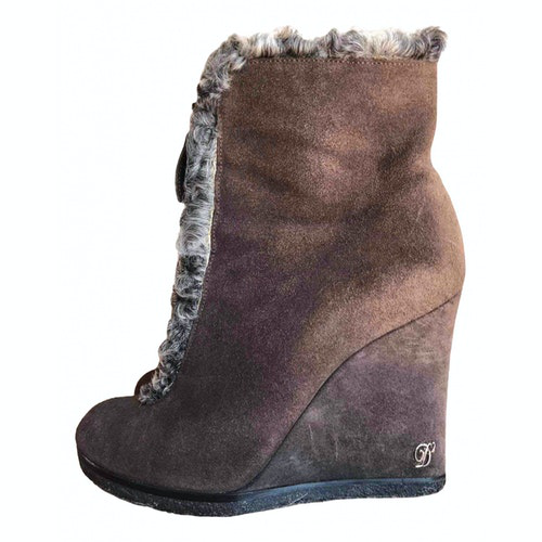 Dsquared2 Brown Suede Ankle Boots