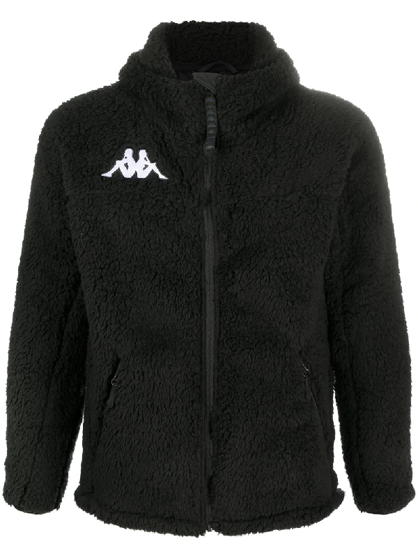 Kappa 6cento Textured Hooded Jacket In Black