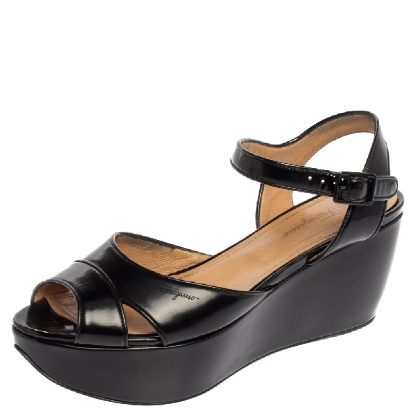 Salvatore Ferragamo Black Leather Wedge Platform Ankle Strap Sandals Size 39