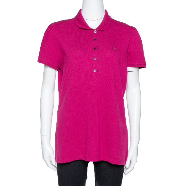 Burberry Brit Fuschia Cotton Pique Fitted Polo T Shirt Xl In Pink