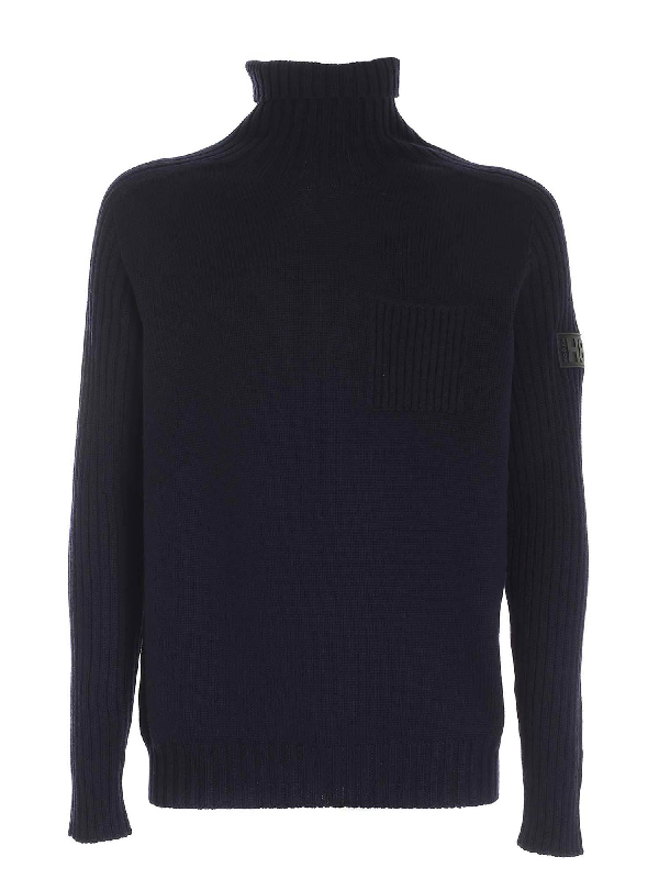 Hogan Blue High Neck Sweater Featuring Patch Pocket