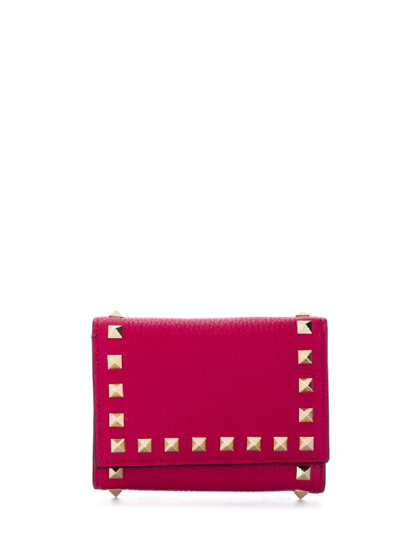 Valentino Garavani Rockstud Tri-fold Wallet In Pink