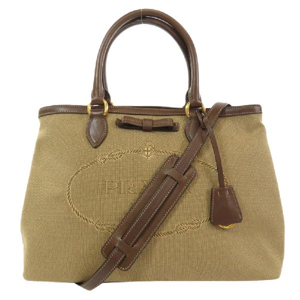Prada Beige/brown Canvas Logo Jacquard Satchel Bag