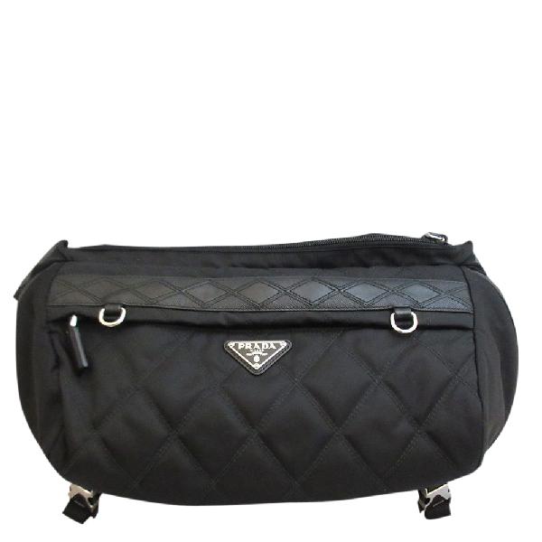 Prada Black Leather Nylon Belt Bag