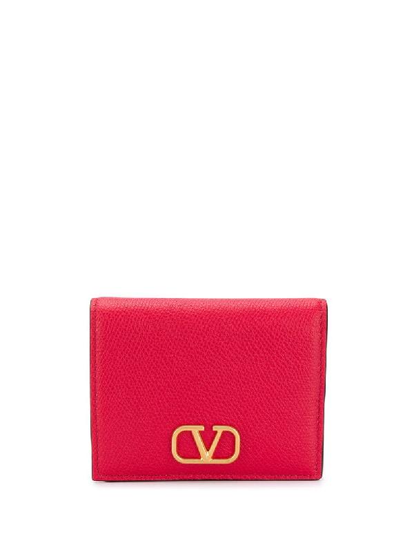 Valentino Garavani Vlogo Signature Bifold Wallet In Red
