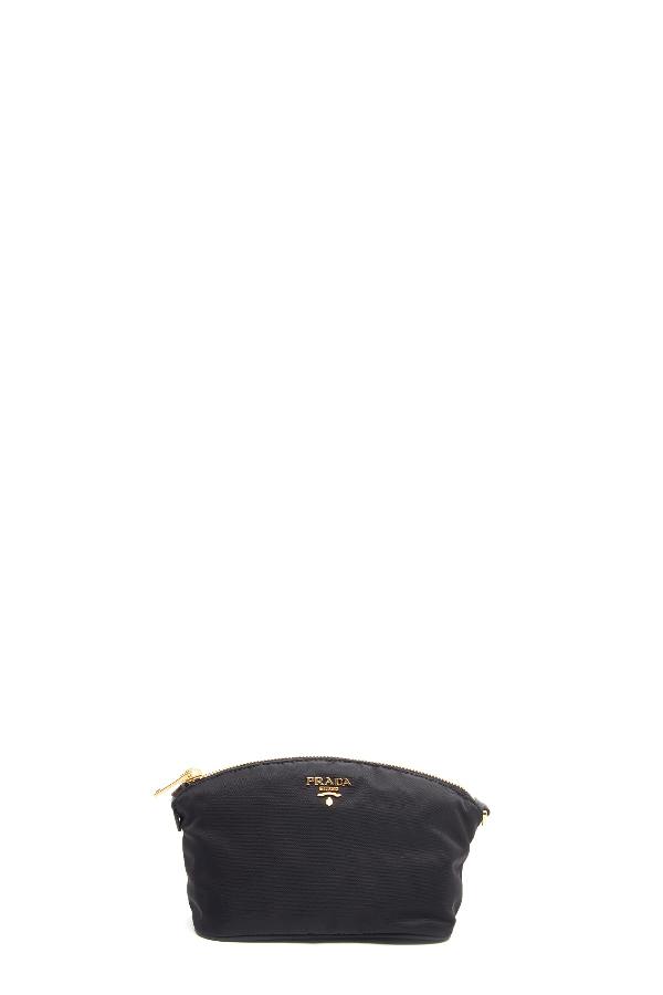 Prada Saffiano Leather-detailed Nylon Beauty Case In Black