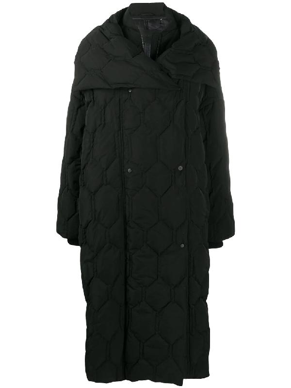 Christian Wijnants Oversize Honeycomb Quilted Coat In Black