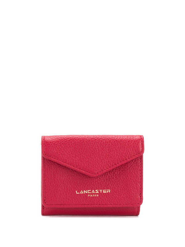 Lancaster Compact Logo Wallet In Red