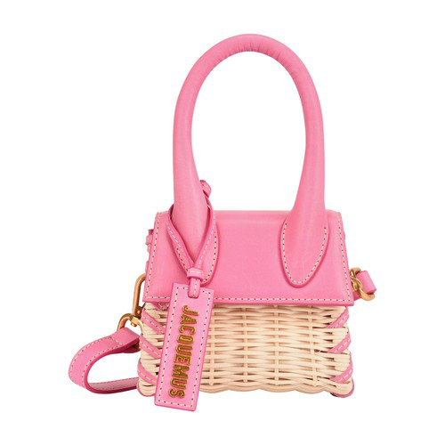 Jacquemus Le Chiquito Raffia & Leather Bag In Pink
