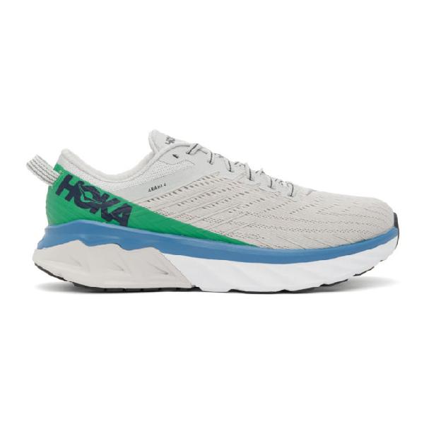Hoka One One Grey And Green Arahi 4 Sneakers In Grey Multi
