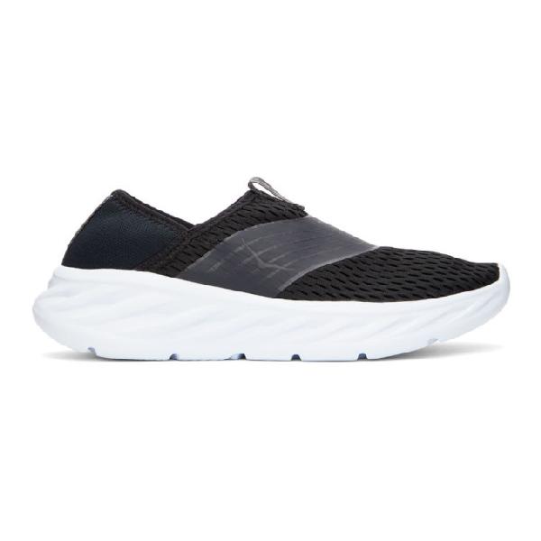 Hoka One One Black Ora Recovery Sneakers In Black/white