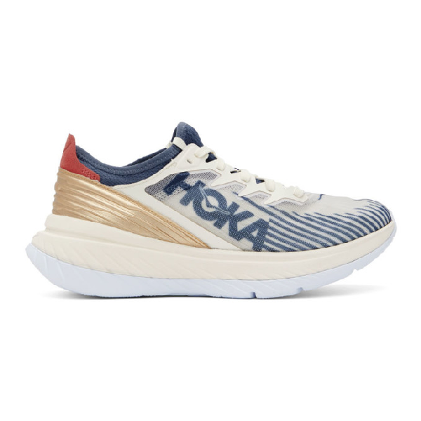 Hoka One One Off-white And Blue Carbon X-spe Sneakers In Tofu/white