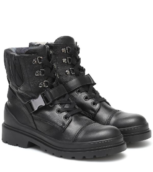 Bogner St Moritz Leather Ankle Boots In Black