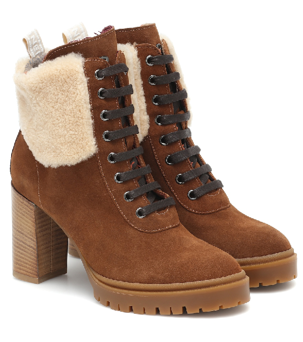 Bogner Sofia Suede And Shearling Ankle Boots In Brown