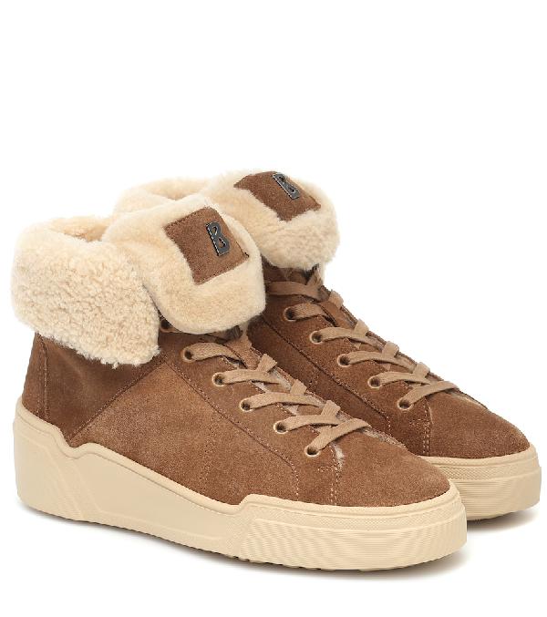 Bogner Paris Suede And Shearling Sneakers In Brown