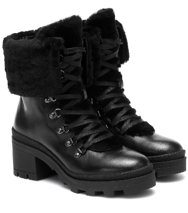 Bogner Belgrade Leather And Shearling Ankle Boots In Black