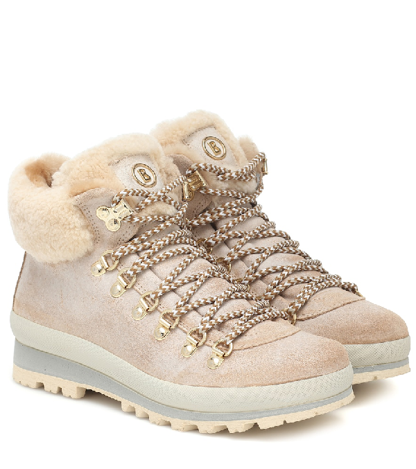 Bogner St Anton Suede And Shearling Ankle Boots In Beige