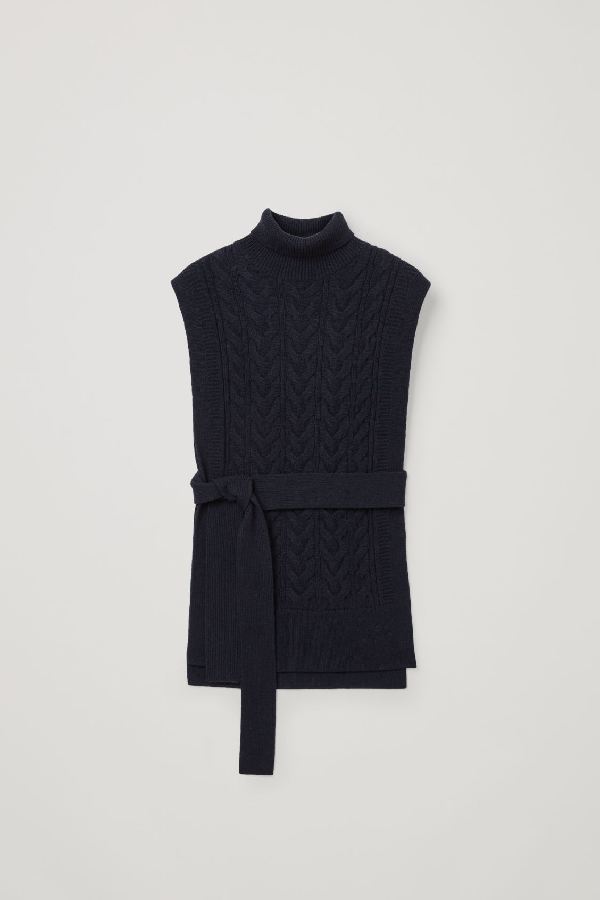 Cos Cable Knit Roll-neck Belted Vest In Blue