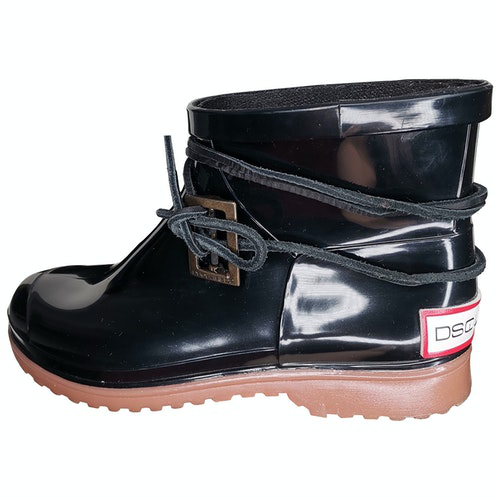 Dsquared2 Black Rubber Ankle Boots