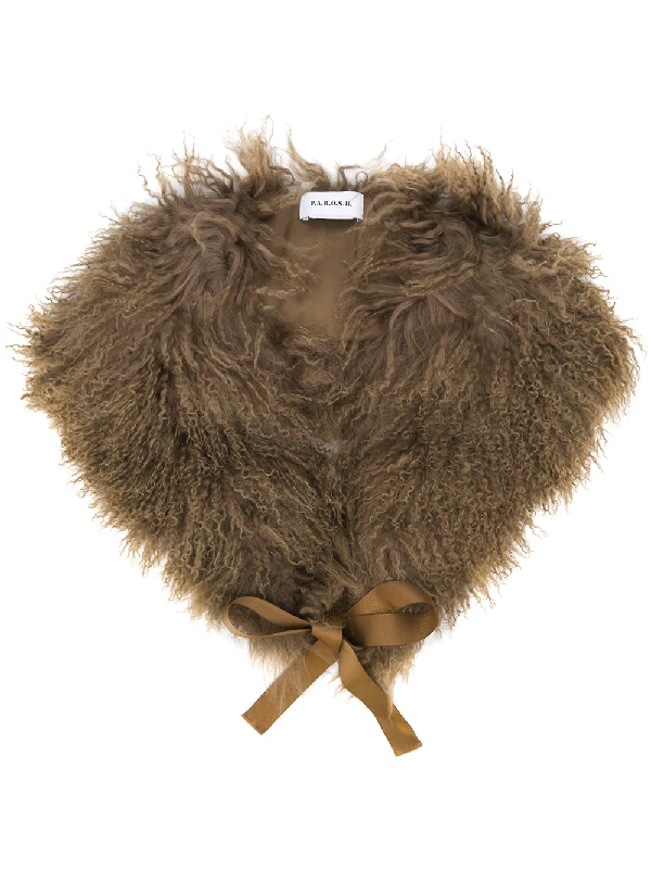 P.a.r.o.s.h. Ribbon Fur Scarf In Brown