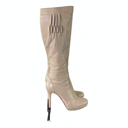Versace Beige Leather Boots